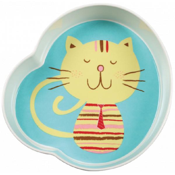 Fun Feeding Bowls - Pink & Green Cat