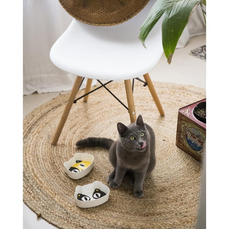 Fun Feeding Bowls - White & Yellow Cat