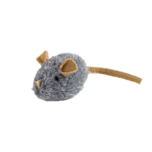 Cat Toy Plush Mouse - Grey/Beige