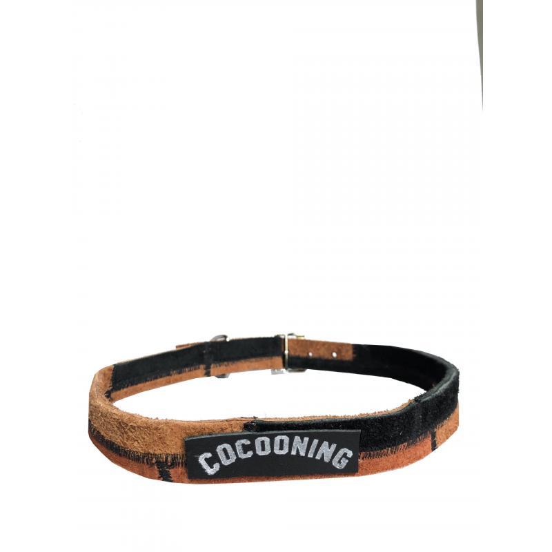 Collar de Cuero Reciclado Large - Negro/Marrón