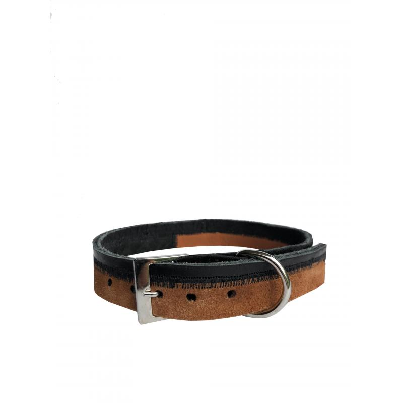 Collar de Cuero Reciclado Médium - Negro/Marrón