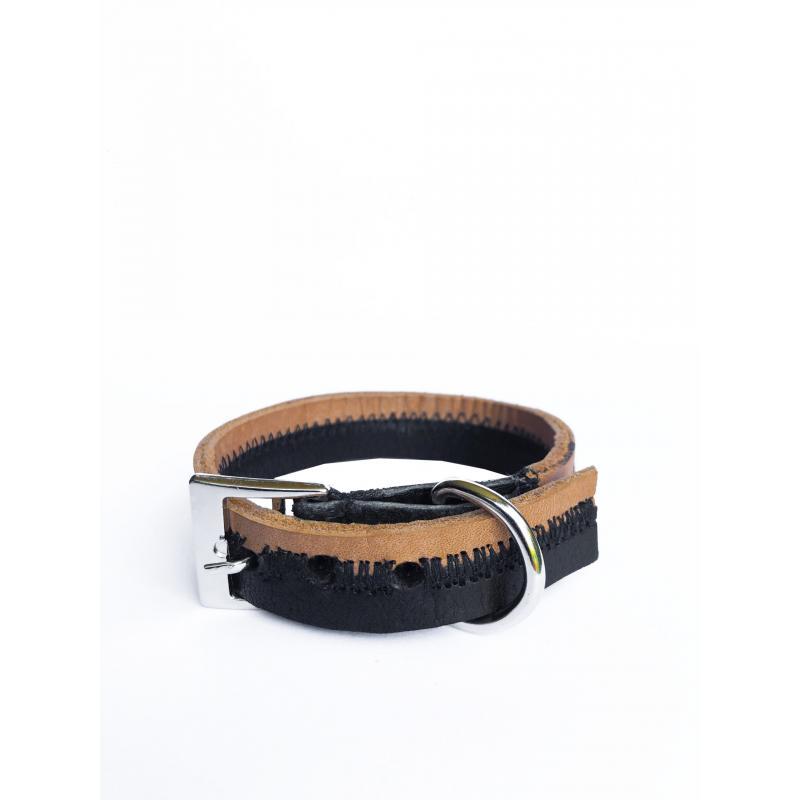 Collar de Cuero Reciclado Extra Small - Negro/Marrón